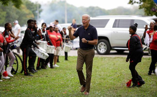 PHOTO: Former Vice President and presidential candidate Joe Biden clinches his fist as he arrives during the Democratic Polk County Steak Fry on Sept. 21, 2019, in Des Moines, Iowa. (Joshua Lott/Getty Images, FILE)