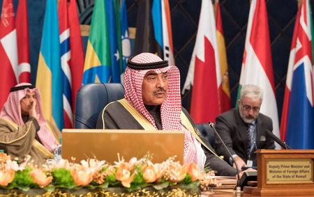 Kuwait's Minister of Foreign Affairs Sheikh Sabah al Khalid Al Sabah attends the Kuwait International Conference for Reconstruction of Iraq, in Bayan