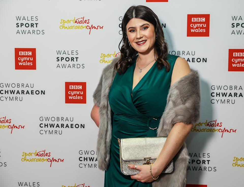 NEWPORT, WALES - DECEMBER 10:  Para Olympian Gold Medal Winner Hollie Arnold arrives at the BBC Cymru Wales Sports Personality of the Year awards 2019 at the Celtic Manor Resort on December 10, 2019 in Newport, Wales. (Photo by Huw Fairclough/Getty Images)