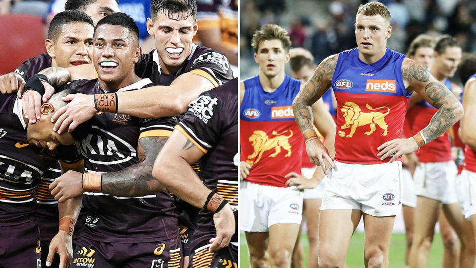 The Brisbane Broncos and Brisbane Lions, pictured here in action in the NRL and AFL.