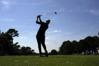 Patrick Cantlay hits from the third tee during the third round of the Tour Championship golf tournament Saturday, Sept. 4, 2021, at East Lake Golf Club in Atlanta. (AP Photo/Brynn Anderson)