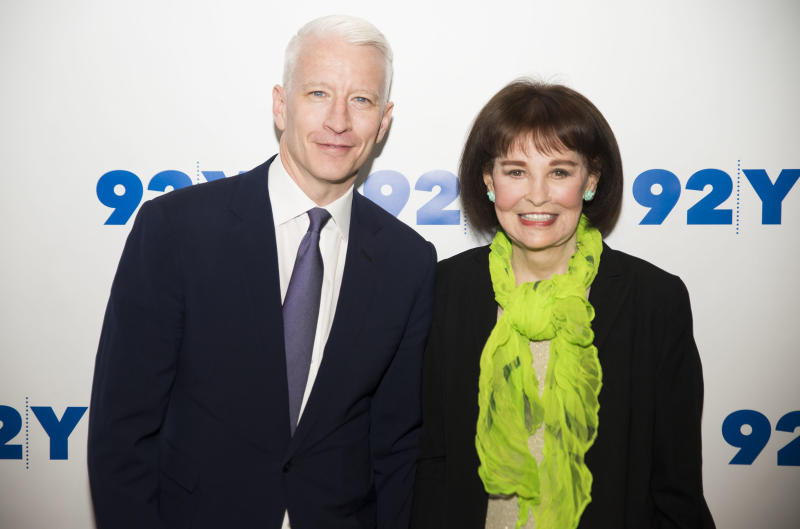 NEW YORK, NY - APRIL 14: Anderson Cooper and Gloria Vanderbilt attend A Conversation With Anderson Cooper And Gloria Vanderbilt at 92Y on April 14, 2016 in New York City. (Photo by Jenny Anderson/WireImage)