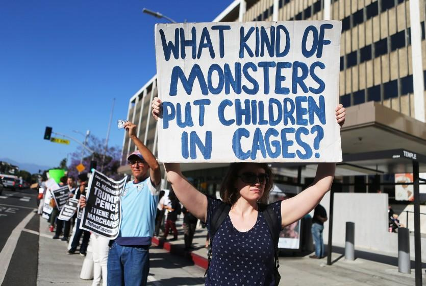 LOS ANGELES, CA - JUNE 18: Protestors demonstrate against the separation of migrant children from their families in front of the Federal Building on June 18, 2018 in Los Angeles, California. U.S. Immigration and Customs Enforcement arrested 162 undocumented immigrants last week during a three-day operation in Los Angeles and surrounding areas. (Photo by Mario Tama/Getty Images) ** OUTS - ELSENT, FPG, CM - OUTS * NM, PH, VA if sourced by CT, LA or MoD **