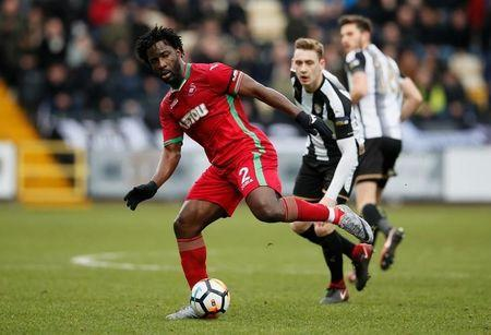 Swansea City's Wilfried Bony in action. REUTERS/David Klein