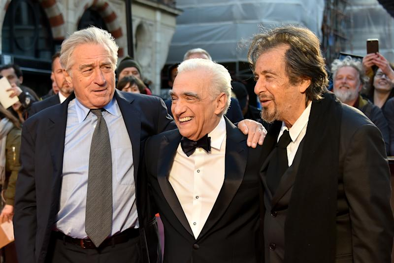 Al Pacino (L), Martin Scorsese (C) and Robert De Niro attend The Irishman International Premiere and Closing Gala during the 63rd BFI London Film Festival on October 13, 2019