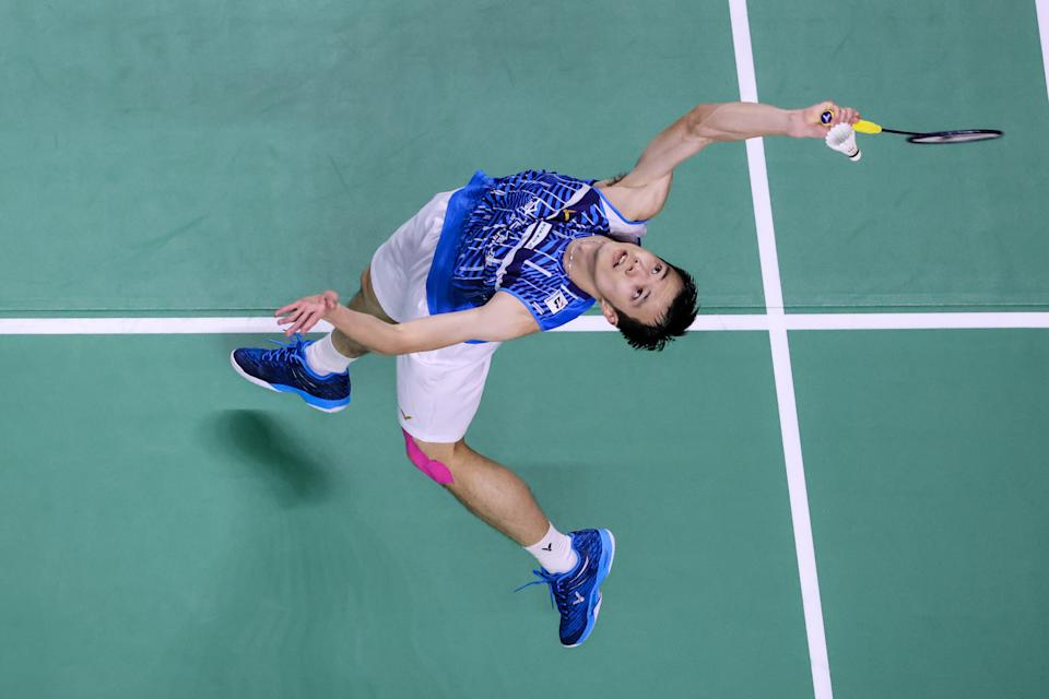 NONTHABURI, THAILAND - JANUARY 28: Wang Tzu Wei of Chinese Taipei competes in the Men's Singles round robin match against Kidambi Srikanth of India on day two of the HSBC BWF World Tour Finals at the IMPACT Arena on January 28, 2021 in Nonthaburi, Thailand. (Photo by Shi Tang/Getty Images)