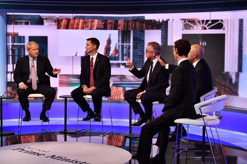 For use in UK, Ireland or Benelux countries only. BBC handout photo of (left to right) Boris Johnson, Jeremy Hunt, Michael Gove, Rory Stewart and Sajid Javid during the BBC TV debate featuring the contestants for the leadership of the Conservative Party.