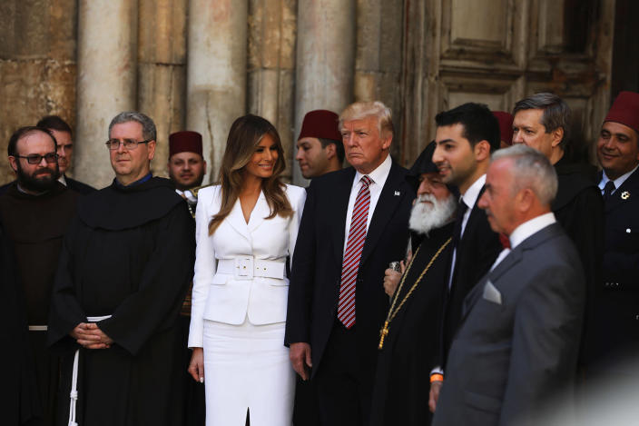<p>U.S. President Donald Trump and First Lady Melania Trump visit the Church of the Holy Sepulchre in Jerusalem's Old City on May 22, 2017. (Photo: Ronen Zvulun/AFP/Getty Images) </p>