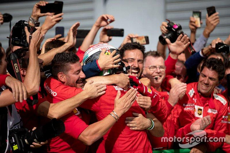 Race winner Charles Leclerc, Ferrari celebrates with his team in parc ferme