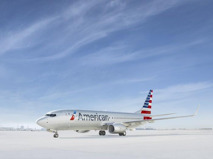 An American Airlines plane on the ground.