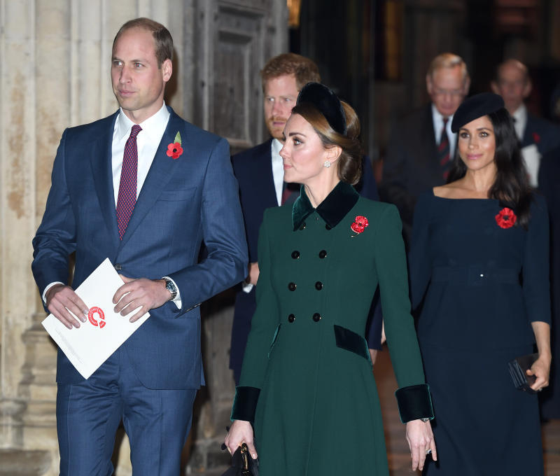 LONDON, ENGLAND - NOVEMBER 11: Prince William, Duke of Cambridge, Prince Harry, Duke of Sussex, Catherine, Duchess of Cambridge and Meghan, Duchess of Sussex attend the Centenary Of The Armistice Service at Westminster Abbey on November 11, 2018 in London, England. (Photo by Karwai Tang/WireImage)