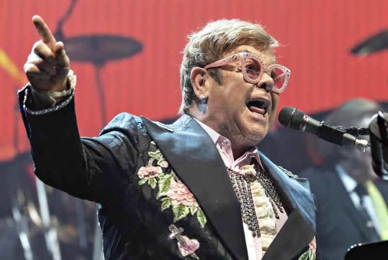 Musician Elton John performs on stage during the first of two concerts at the Royal Arena in Copenhagen on his farewell tour 'Farewell Yellow Brick Road Tour', Saturday May 18, 2019. (Torben Christensen/Ritzau Scanpix via AP)