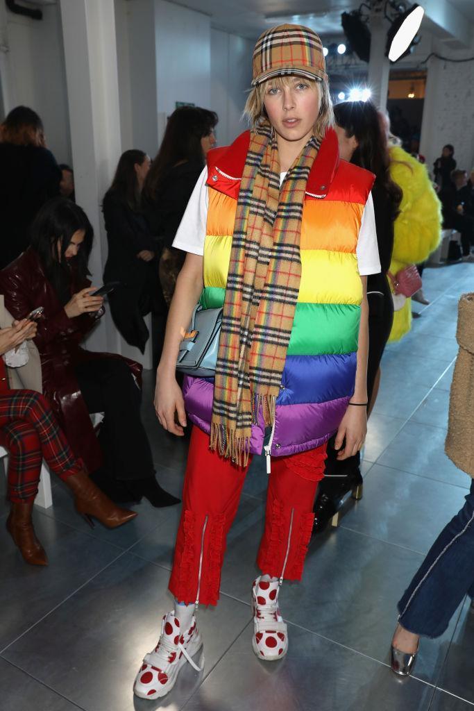 <p>Model Edie Campbell donned a rainbow gilet and Burberry's classic check accessories for the AW18 show. <em>[Photo: Getty]</em> </p>