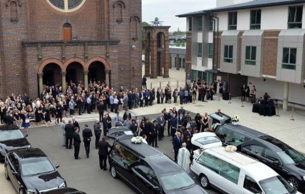 Hundreds of mourners gathered to farewell Jessica Falkholt on Monday at the same church that her family were laid to rest earlier this month. Source: Getty
