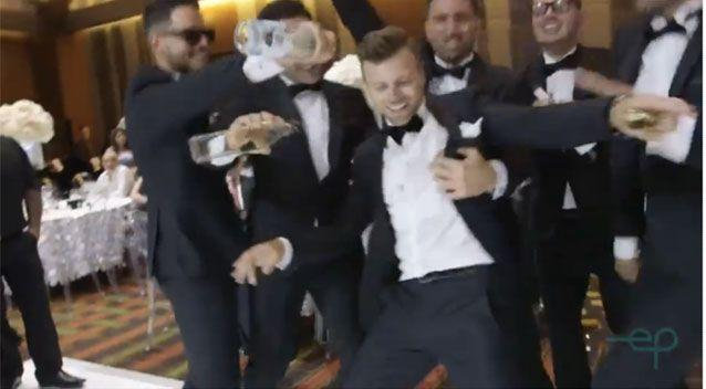 The groomsmen pretend to get wild as they dance to LMFAO's party anthem Shots. Source: Everafter Productions
