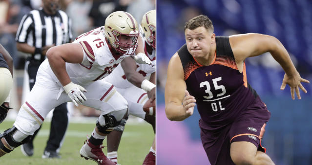 FILE - At left, in a Sept. 22, 2018, file photo, Boston College offensive lineman Chris Lindstrom (75) plays against Purdue during the second half of an NCAA college football game in West Lafayette, Ind. At right, in a March 1, 2019, file photo, Boston College offensive lineman Chris Lindstrom runs a drill at the NFL football scouting combine in Indianapolis. Lindstrom is a possible pick in the 2019 NFL Draft. (AP Photo/Michael Conroy, File)