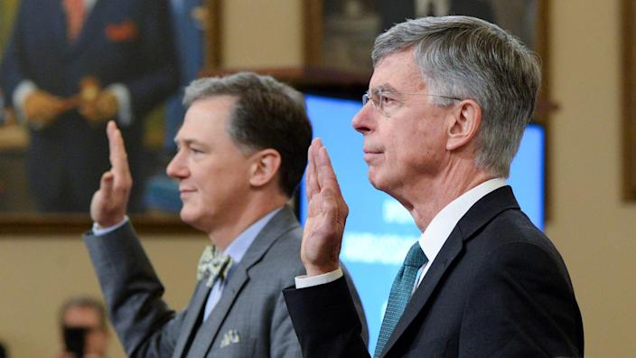 George Kent, deputy assistant secretary of state, and Bill Taylor, the top U.S. diplomat in Ukraine, are sworn in during the House Intelligence Committee hearing on Nov. 13. (Photo: Erin Scott/Reuters)