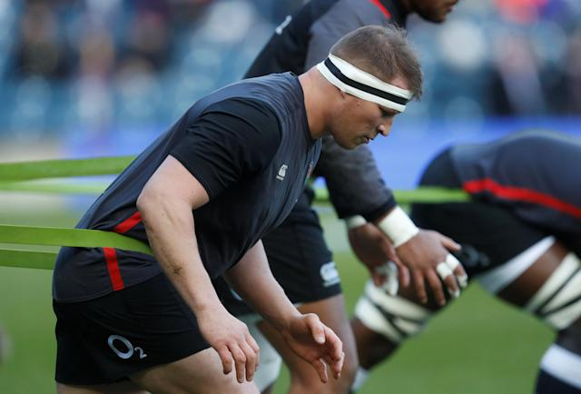 Rugby Union - Six Nations Championship - Scotland vs England - BT Murrayfield Stadium, Edinburgh, Britain - February 24, 2018 England's Dylan Hartley warms up before the match REUTERS/Russell Cheyne