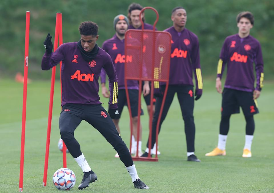 Marcus Rashford trains ahead of the trip to ParisGetty Images
