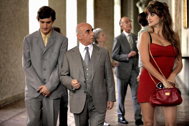"This film image released by Sony Pictures Classics shows, from left, Alessandro Tiberi as Antonio, Roberto Della Casa as Uncle Paolo and Penélope Cruz as Anna in a scene from ""To Rome With Love."" (AP Photo/Sony Pictures Classics, Philippe Antonello)"