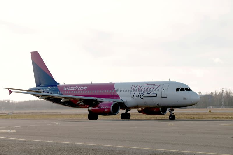 Wizz Air Airbus A320-232 plane HA-LWE taxies to take-off in Riga International Airport in Riga
