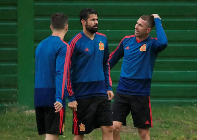 Soccer Football - World Cup - Spain Training - Spain Training Camp, Kaliningrad, Russia - June 24, 2018 Spain's Diego Costa and Sergio Ramos during training REUTERS/Gonzalo Fuentes