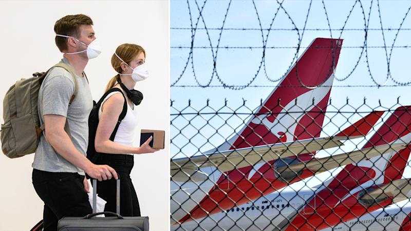 Australians may not see unrestricted international travel until October 2021. Pictured on the left man and woman wearing face masks carrying backpacks. On the right is a photo of Qantas planes behind a fence.