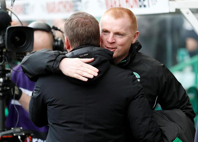 Soccer Football - Scottish Premiership - Hibernian v Celtic - Easter Road, Edinburgh, Britain - April 21, 2018 Celtic manager Brendan Rodgers with Hibernian manager Neil Lennon before the match REUTERS/Russell Cheyne