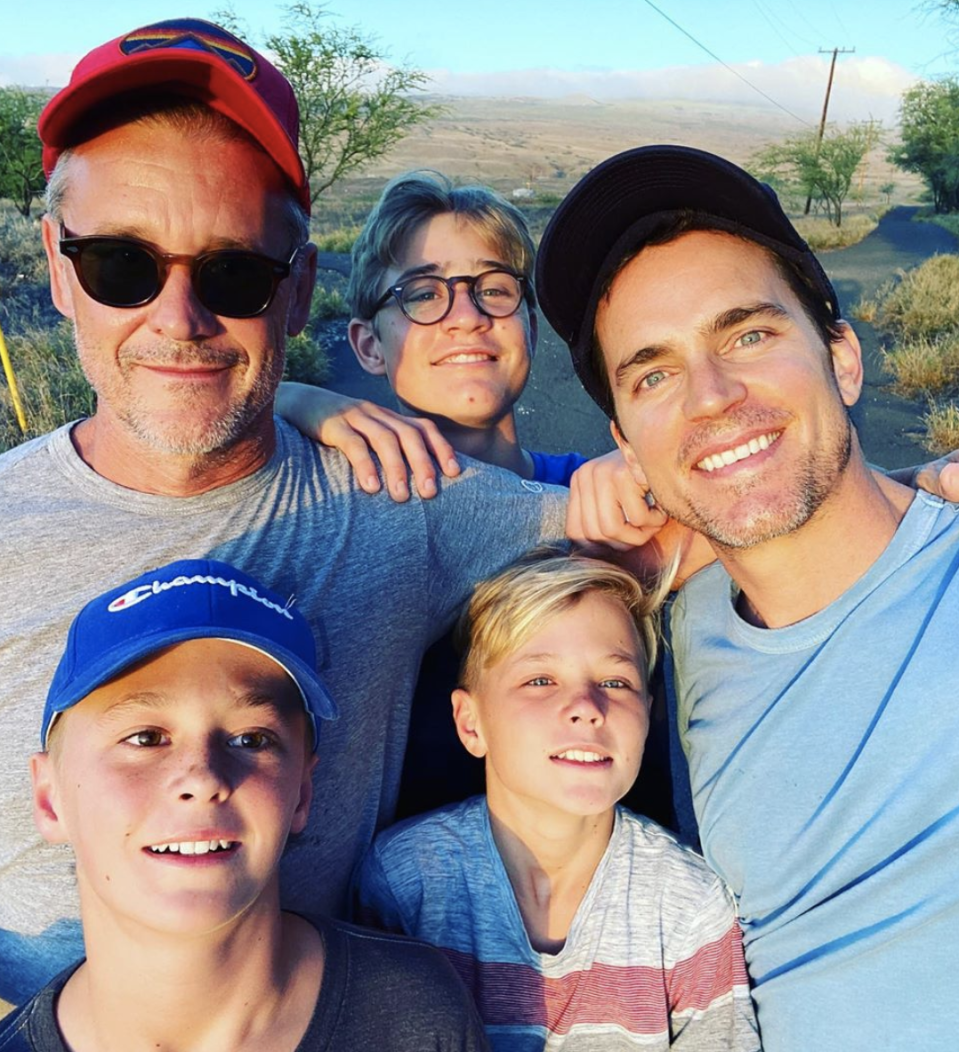 "<p>Matt Bomer told <a href=""https://people.com/celebrity/matt-bomer-calls-fatherhood-a-profound-gift-and-a-daunting-challenge/"" rel=""nofollow noopener"" target=""_blank"" data-ylk=""slk:People"" class=""link rapid-noclick-resp"">People</a> that fatherhood is both a ""profound gift"" and ""daunting challenge."" He and his husband Simon Halls have three sons—Kit, Henry and Walker. ""I just want to be hopefully somebody who helps shape these souls without changing how they came into the world. To just give them the structure they need to thrive in the world but at the same time let their own personalities shine through. Some days that's easier than others,"" he says.</p>"