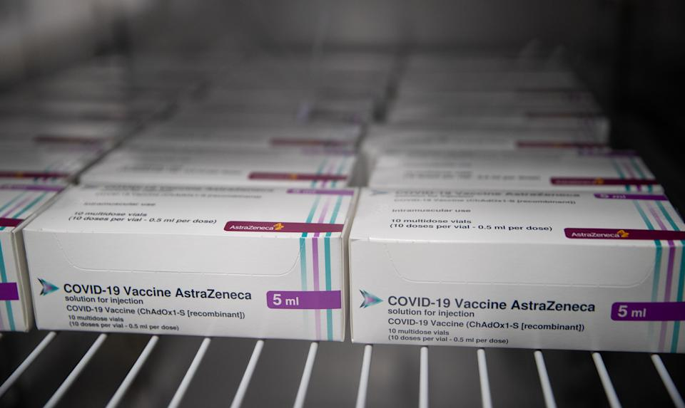 LONDON, ENGLAND - JANUARY 09: Boxes of vials of the AstraZeneca Covid vaccine sit in a fridge at Ashton Gate Stadium in Bristol, which is one of seven mass vaccination centres which will open on Monday, as the government continues to ramp up the vaccination programme against Covid-19 on January 9, 2021 in London, England. (Photo by Andrew Matthews-WPA Pool/Getty Images)