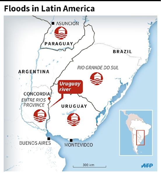 Map showing areas of South America affected by flooding that has driven more than 160,000 people from their homes (135 x 114 mm) (AFP Photo/Jonathan Storey)