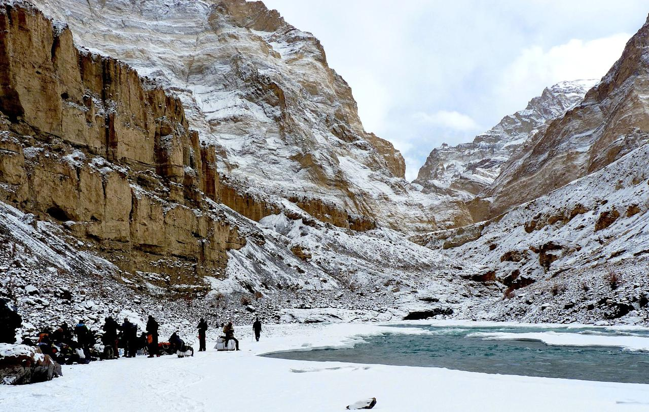 <p>This one is perhaps the best-known trek in India. A favourite not just among foreign trekkers but also Indian tourists, the Chadar trek is also one of the most challenging listed here. The trek gets its name from Chadar, the Hindi word for sheet. Of course, the sheet referred to here is that of ice, caused by the freezing of the River Zanskar, over which you must walk. The trek is dotted with several Buddhist monastaries, and villages that don't even appear as a blip on GPS, and paths that aren't mapped on Google. The entire trek can take between 9 to 12 days with trekkers reaching a maximum altitude of 3,890 m above sea level.<br />Photograph: Sumita Roy Dutta/Creative Commons </p>