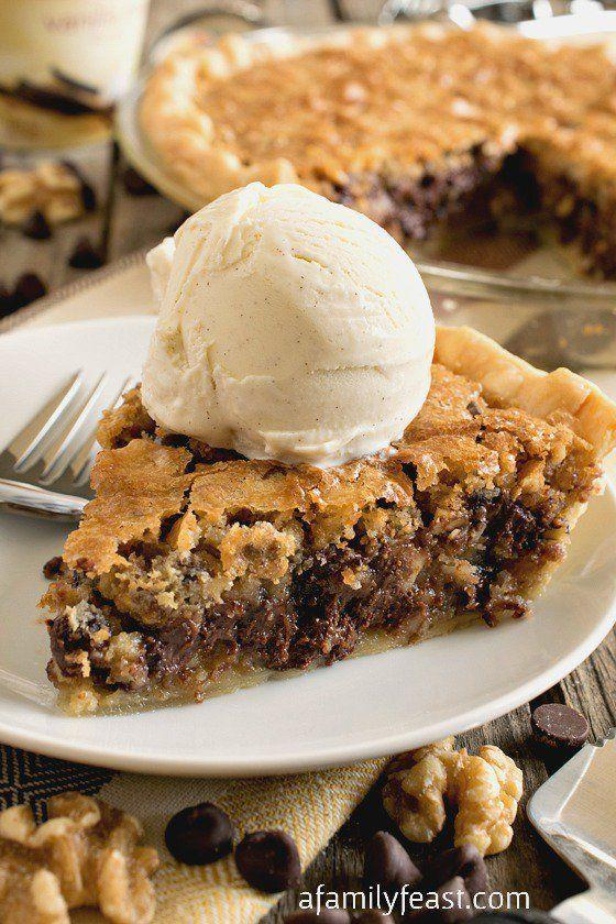 "<p>Think of this pie as a giant chocolate chip cookie hybrid. To make it even more mouthwatering, serve each slice with a scoop of <a href=""https://www.countryliving.com/food-drinks/recipes/a3404/vanilla-ice-cream-recipe-clv0610/"" rel=""nofollow noopener"" target=""_blank"" data-ylk=""slk:vanilla ice cream"" class=""link rapid-noclick-resp"">vanilla ice cream</a>.</p><p><strong>Get the recipe at <a href=""https://www.afamilyfeast.com/toll-house-chocolate-chip-pie/"" rel=""nofollow noopener"" target=""_blank"" data-ylk=""slk:A Family Feast"" class=""link rapid-noclick-resp"">A Family Feast</a>.</strong> </p><p><a class=""link rapid-noclick-resp"" href=""https://www.amazon.com/Camp-Chef-True-Seasoned-CIPIE10/dp/B000OXAQ6G?tag=syn-yahoo-20&ascsubtag=%5Bartid%7C10050.g.957%5Bsrc%7Cyahoo-us"" rel=""nofollow noopener"" target=""_blank"" data-ylk=""slk:SHOP PIE PANS"">SHOP PIE PANS</a> </p>"