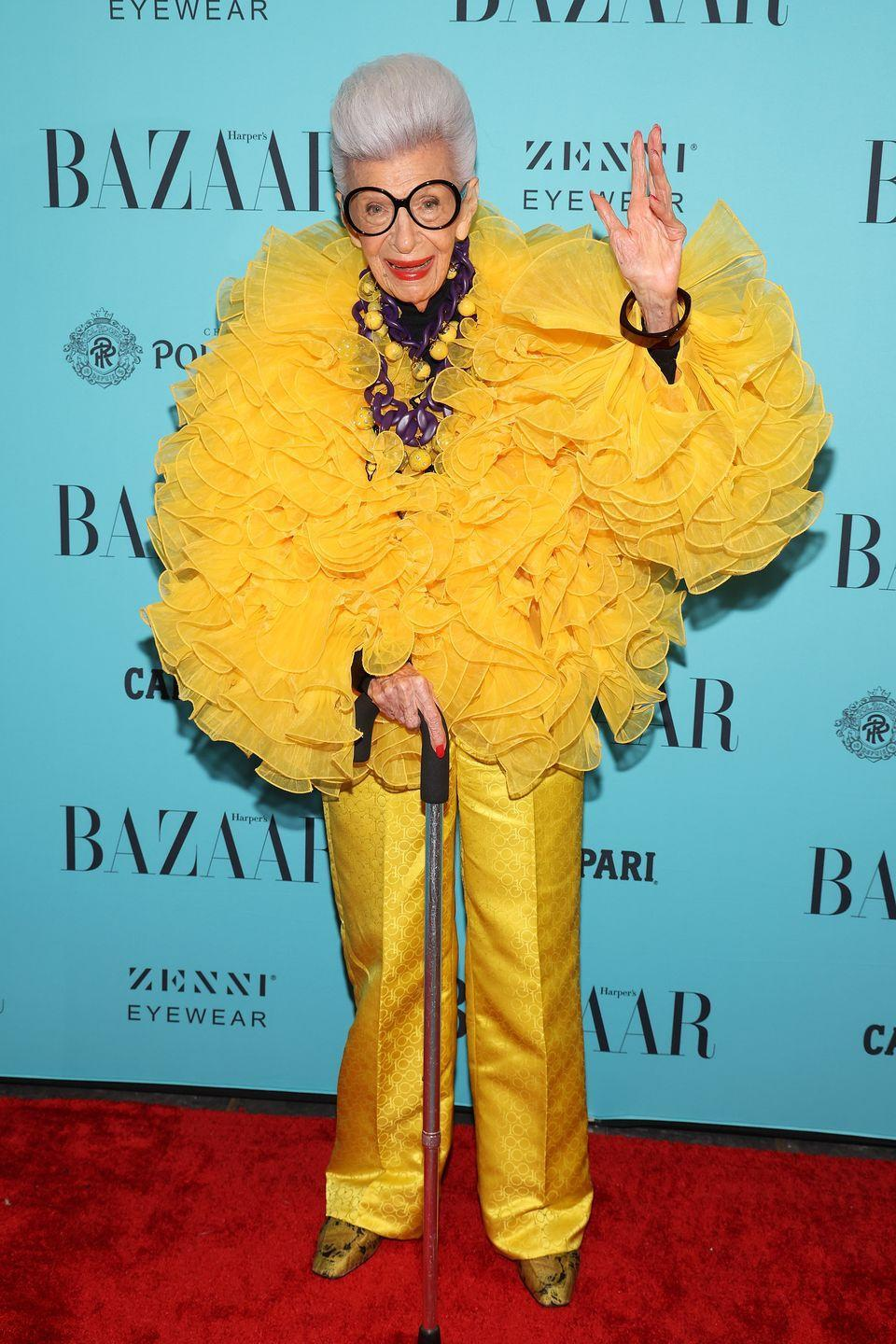 <p><strong>9 September</strong></p><p>Iris Apfel attended a NYFW celebration of her 100th birthday wearing a bright yellow ensemble.</p>