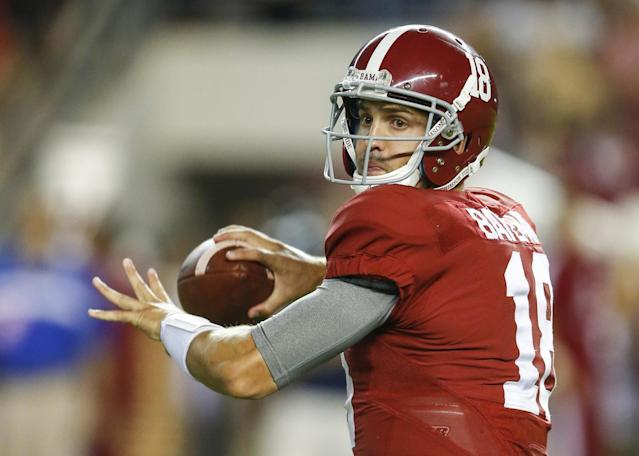 "<a class=""link rapid-noclick-resp"" href=""/ncaaf/players/226372/"" data-ylk=""slk:Cooper Bateman"">Cooper Bateman</a> was Alabama's No. 2 quarterback for most of the 2016 season. (AP Photo/Butch Dill)"
