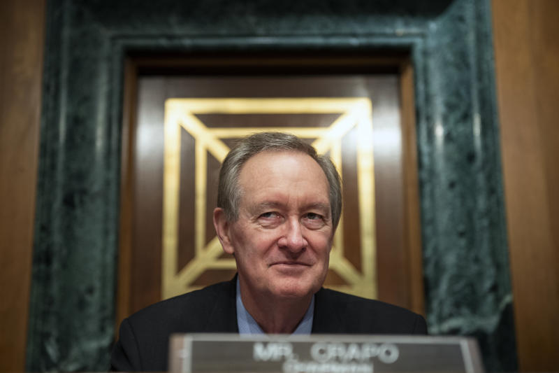 UNITED STATES - JULY 23: Sen. Mike Crapo, R-Idao, appears at a Senate Banking, Housing and Urban Affairs Committee hearing on marijuana and banking on Capitol Hill in Washington on Tuesday July 23, 2019. (Photo by Caroline Brehman/CQ Roll Call)