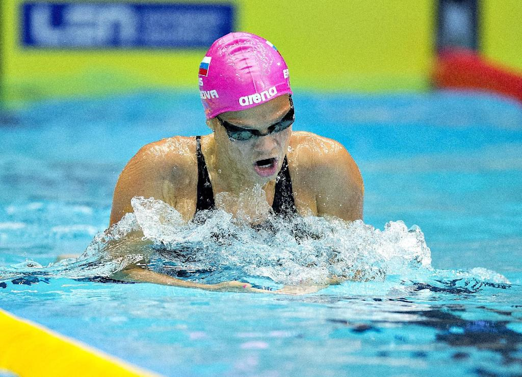 Yulia Efimova of Russia competes in a preliminary round of the women's 200 meters breaststroke event of the Len European Short Course Swimming Championships in Herning, Denmark, December 13, 2013. AFP PHOTO / SCANPIX DENMARK / HENNING BAGGER +++ DENMARK OUT +++Yulia Efimova of Russia competes in a preliminary round of the women's 200 meters breaststroke event of the Len European Short Course Swimming Championships in Herning, Denmark, December 13, 2013. AFP PHOTO / SCANPIX DENMARK / HENNING BAGGER +++ DENMARK OUT +++ (AFP Photo/HENNING BAGGER)
