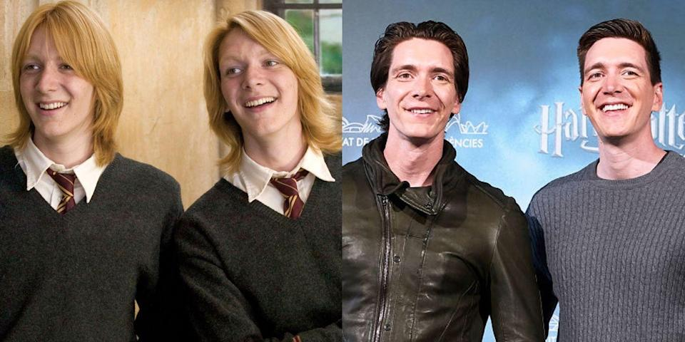 """<p><strong>First Film: </strong><em>Harry Potter and the Sorcerer's Stone</em></p><p><strong>Characters Played: </strong>Fred and George Weasley</p><p><strong>Age: </strong>34</p><p>The twins are still very much involved with the Potter world, as they attended Rhode Island Comic-Con with former cast mates in November and opened Universal's <a href=""""https://www.insider.com/hagrids-magical-creatures-motorbike-adventure-harry-potter-tom-felton-tips-2019-6"""" rel=""""nofollow noopener"""" target=""""_blank"""" data-ylk=""""slk:new Hagrid's Magical Creatures Motorbike Adventure"""" class=""""link rapid-noclick-resp"""">new Hagrid's Magical Creatures Motorbike Adventure</a> ride last June.</p>"""