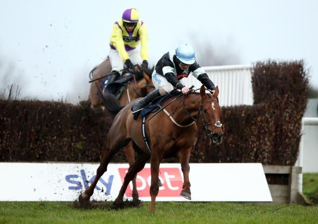 The Late Legend, ridden by Sean Bowen, runs home to win the Sky Bet Money Back As Cash Handicap Chase at Doncaster