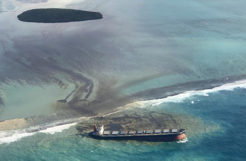 Anxious residents of the Indian Ocean island nation of Mauritius are stuffing fabric sacks with sugar cane leaves to create makeshift oil spill barriers as tons of fuel leak from a grounded ship. Source: AP