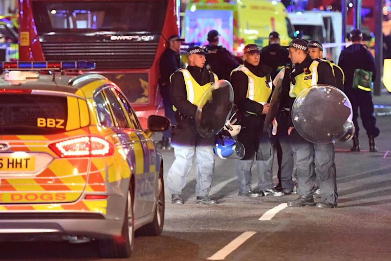Police officers with riot shields during the London Bridge and Borough Market terror attack in June: PA Wire/PA Images