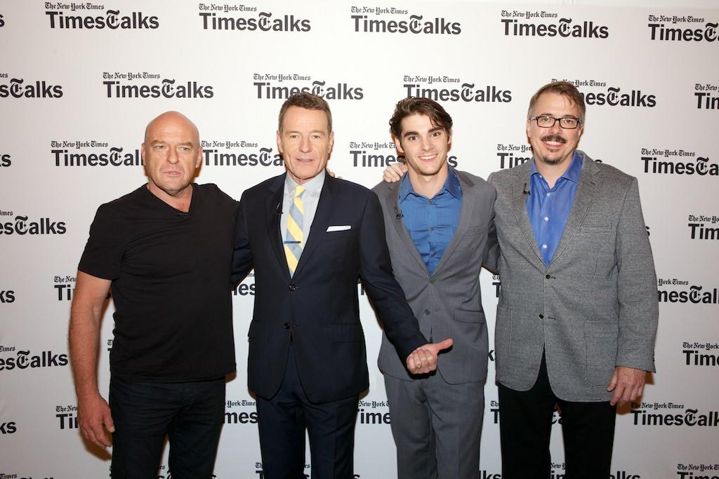 """Dean Norris, Bryan Cranston, RJ Mitte, and Vince Gilligan attend TimesTalk Presents An Evening With """"Breaking Bad"""" at Times Center on July 30, 2013 in New York City."""