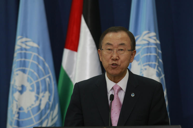 U.N. Secretary-General Ban Ki-moon, with Palestinian President Mahmoud Abbas, not seen, holds a press conference in the West Bank city of Ramallah, Thursday, Aug. 15, 2013. (AP Photo/Majdi Mohammed)