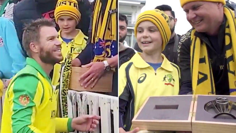 David Warner and the young fan. Image: ICC