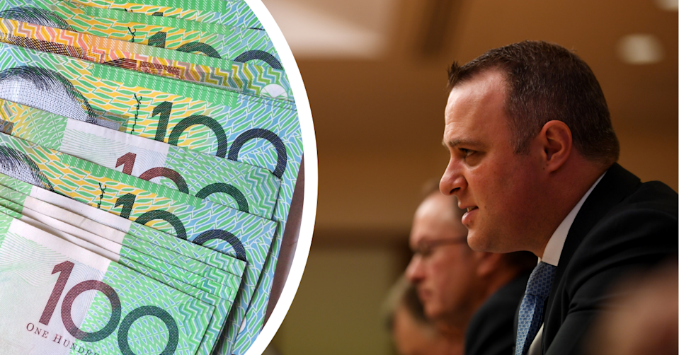 Chair of the House of Representatives Standing Committee on Economics Tim Wilson MP and Australian $100 notes.