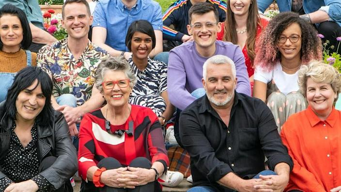 Prue Leith and the contestants and presenters of The Great British Bake Off 2019