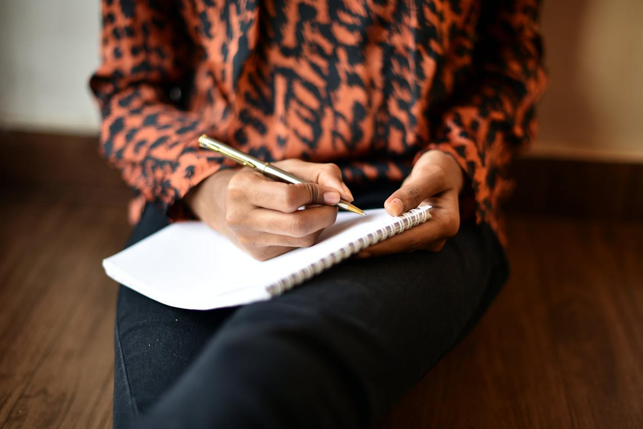 """<p>Feeling anxious, stressed out, and tired? Grab a pen and paper and write about it. """"Journaling is a great tool and has been used as a therapeutic exercise for a long time,"""" <a href=""""http://www.clinicalsextherapist.com/"""" target=""""_blank"""" class=""""ga-track"""" data-ga-category=""""Related"""" data-ga-label=""""http://www.clinicalsextherapist.com/"""" data-ga-action=""""In-Line Links"""">Christopher Ryan Jones</a>, PsyD, told POPSUGAR. """"Writing about your day and stressful situations you encounter is a great way to unload those burdens and <a href=""""https://www.popsugar.com/fitness/Journaling-Stress-Relief-44729054"""" class=""""ga-track"""" data-ga-category=""""Related"""" data-ga-label=""""https://www.popsugar.com/fitness/Journaling-Stress-Relief-44729054"""" data-ga-action=""""In-Line Links"""">reduce your stress</a>.""""</p>"""