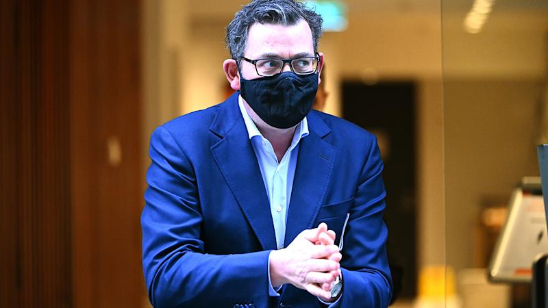 Victorian Premier Daniel Andrews is pictured before a press conference.