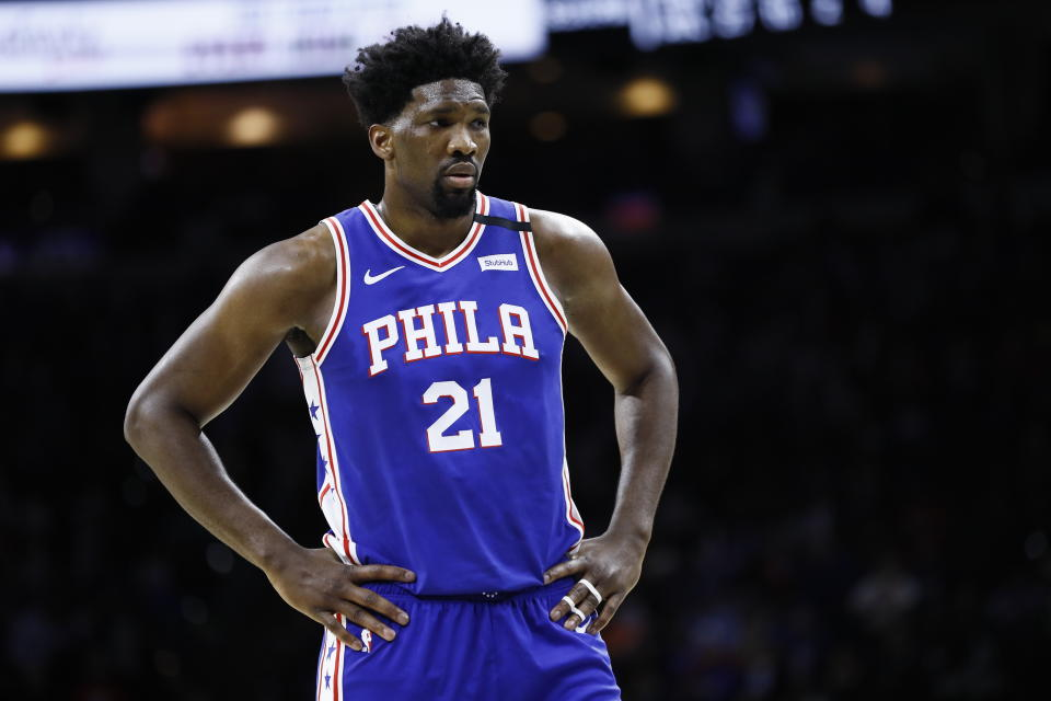 Philadelphia 76ers' Joel Embiid plays during an NBA basketball game against the Atlanta Hawks, Monday, Feb. 24, 2020, in Philadelphia. (AP Photo/Matt Slocum)