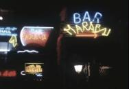 A view shows neon signs of restaurants and bars in Beirut